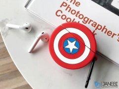 کاور محافظ سیلیکونی ایرپاد طرح کاپیتان آمریکا Captain America Silicone Case Apple Airpods
