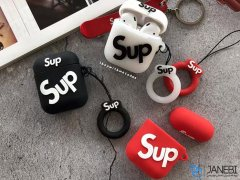 کاور محافظ سیلیکونی ایرپاد طرح سوپریم Supreme Silicone Case Apple Airpods