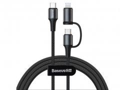 کابل دو سر تایپ سی و لایتنینگ بیسوس Baseus Twin 2in1 cable 1m