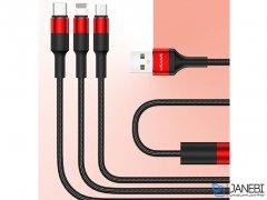 کابل شارژ سه سر یوسامز Usams U5 3IN1 Braided Charging Cable 1.5m