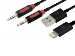 کابل شارژ و انتقال داده و صدا لایتنینگ پرومیت Promate linkMate.LTA USB to Lightning Sync/Charge & 3.5mm Audio Cable