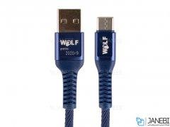 کابل شارژ و انتقال داده تایپ سی Wolf Type-C Cable 1m