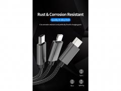 کابل ۳ کاره راک Rock 3in1 Metal Stretchable lightning - Type-C - Micro USB