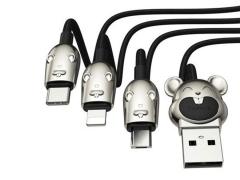 کابل سه سر طرحدار بیسوس Baseus Three Mouse 3-in-1 Cable 1.2m