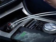 شارژر فندکی دو پورت بیسوس Baseus Digital Display Car Charger Dual USB