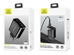 شارژر دیواری سریع 2 پورت یوسامز Usams T23 QC3.0 PD3.0 Digital Fast Charger