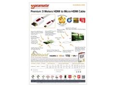 کابل میکرو اچ دی ام آی به اچ دی ام آی پرومیت Promate LinkMate-H3L HDMI Cable 3m