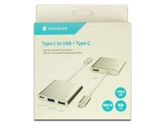 مبدل تایپ سی به تایپ سی و یو اس بی راک Rock Type-C to USB+Type-C