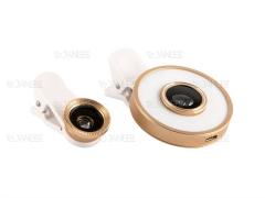لنز فلاش دار واید و ماکرو و فیش آی گوشی موبایل MX-601 6in1 LED Cell Phone Lens Kit