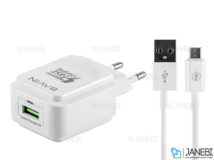 شارژر دیواری سریع و کابل میکرو یو اس بی باوین Bavin PC635Y Micro USB Charger