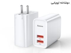 آداپتور دو پورت فست شارژ 30 وات بیسوس Baseus BS-EU906 USB-A Quick Travel Charger