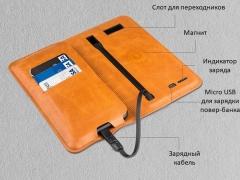 پاور بانک و کیف چرمی Zhuse ZS-PB-024 6800mAh Power Bank And Leather Bag