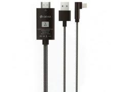 کابل مبدل لایتنینگ به اچ دی ام آی دویا Devia EC083 Storm Lightning+USB to HDMI Cable 2m