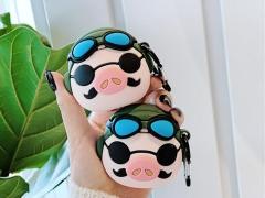 کاور محافظ سیلیکونی ایرپاد طرح خوک خلبان Pilot Pig Silicone Case Apple Airpods