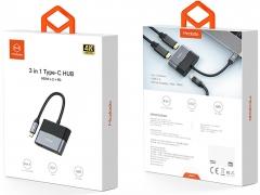 خرید هاب آداپتور تایپ سی به دو پورت HDMI و یک پورت تایپ سی مک دودو MCDODO 3 in 1 Type-C hub HDMI x2   PD HU-739