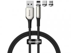 کیت کابل شارژ و انتقال داده 1 متری آهنربایی با سه کانکتور قابل تغییر (Type-C + Lightning + Micro USB) بیسوس Baseus Zinc Magnetic Cable Kit 1M (Type-c/Lightning/MicroUSB)