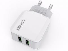 شارژر دیواری دو پورت الدنیو LDNIO Dual USB Home/Travel Charger A2202 دارای کیفیت ساخت بالا