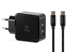 شارژر دیواری 2 پورت 30 وات و کابل شارژ تایپ سی به تایپ سی مک دودو MCDODO Dual Quick Charge 30W CH-6923