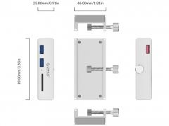 هاب یو اس بی 2 پورت و کارتخوان اوریکو Orico MH2AC-U3 Clip-type USB HUB