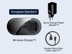 شارژر وایرلس 2 تایی گوشی و ایرپاد 2 بیسوس Baseus Simple BS-W508 2 in 1 Wireless Charger Turbo Edition 20W