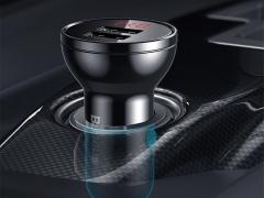 شارژر فندکی دو پورت و کابل سه سر بیسوس Baseus Digital Display Car Charger With 3in1 USB Cable