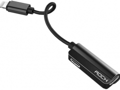 Rock RCB0588 Lightning Metal Charge & Audio 2 in 1 Cable B