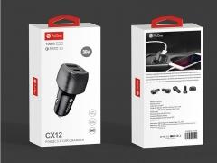 شارژر فندکی سریع با خروجی یو اس بی و تایپ سی پرووان ProOne CX12 PD & QC 3.0 Car Charger