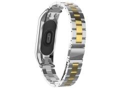 بند فلزی براق اسپرت دستبند سلامتی شیائومی می بند ۵  Xiaomi Mi Band 5 Metalic Sport Metal Strap