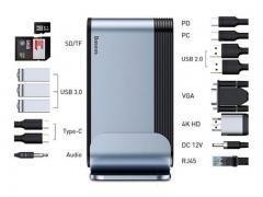 هاب 16 پورت تایپ سی بیسوس Baseus Working Station Three-Screen Multifunctional Type-C CAHUB-AG0G