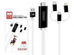 کابل مبدل سه سر به اچ دی ام آی Earldom 3 in 1 HDMI HDTV Cable ET-W13