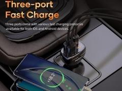 شارژر فندکی سریع و دارای نمایشگر راک ROCK C301 60W Smart Digital Display Car Charger
