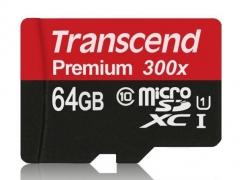 رم میکرو اسدی 64 گیگابایت Transcend Class 10 Premium 300X