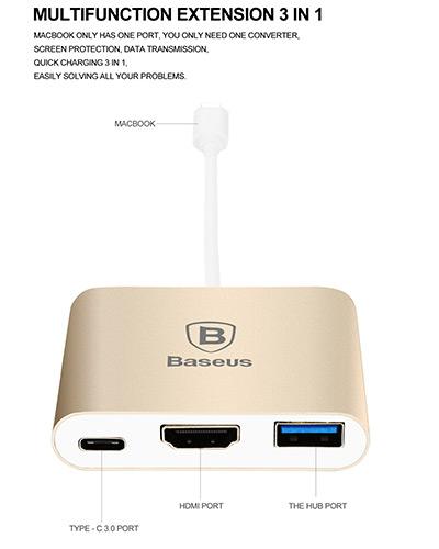 آداپتور تایپ سی به اچ دی ام آی بیسوس Baseus Sharp Series Type-C To HDMI+HUB Adapter For Macbook