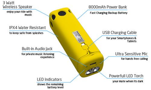 پاوربانک و اسپیکر بلوتوثی پرومیت Promate BikerMate Wireless Speaker Powerbank 8000mAh