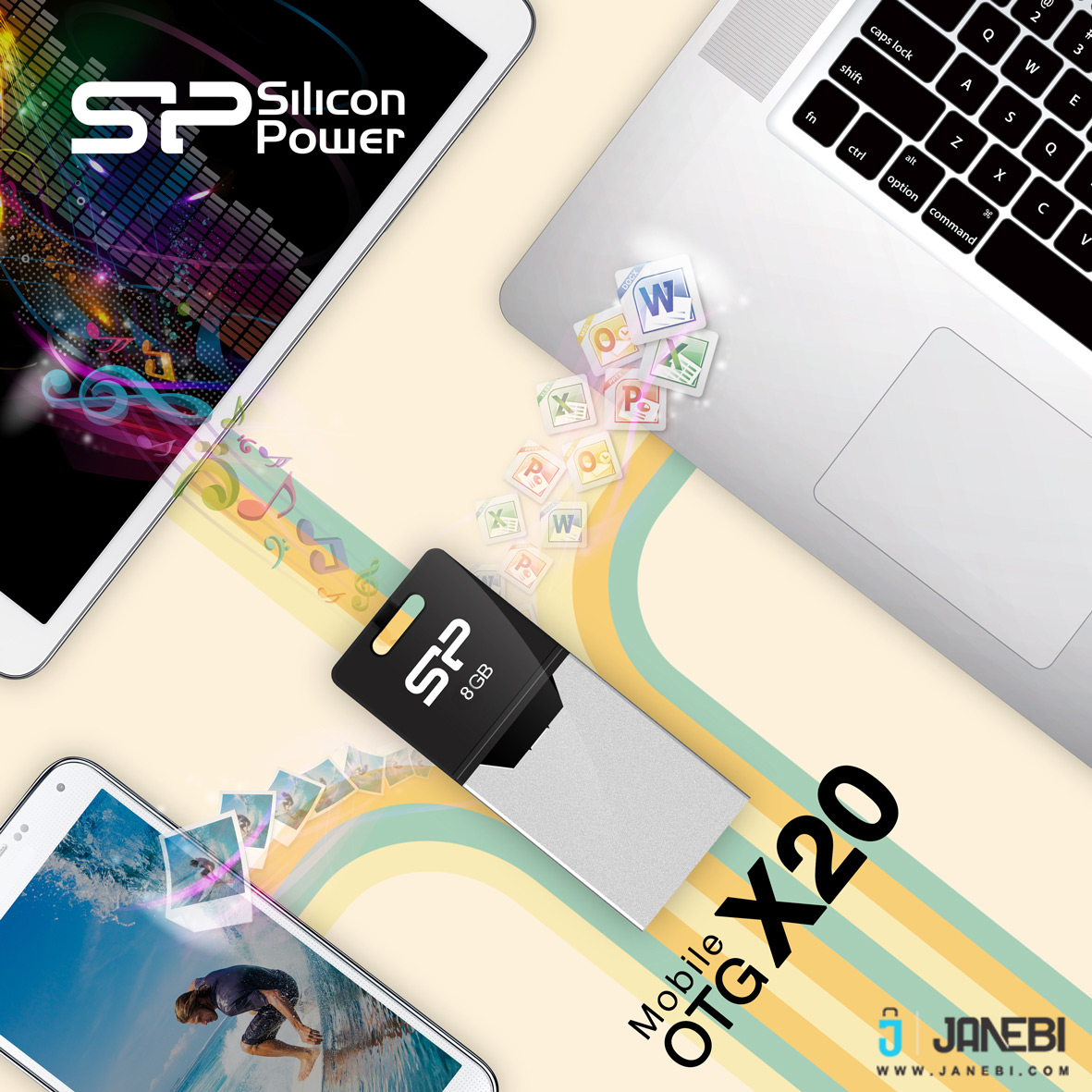 فلش مموری سیلیکون پاور Silicon Power Mobile X20 USB OTG Flash Drive 32G