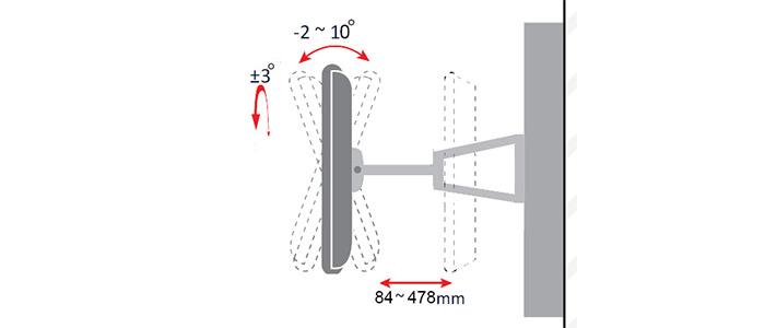 براکت دیواری متحرک تلویزیون LCDarm TWM-478 TV Stand