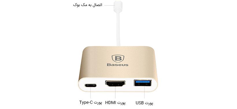 هاب آداپتور Type-C به HDMI ،USB و Type-C بیسوس