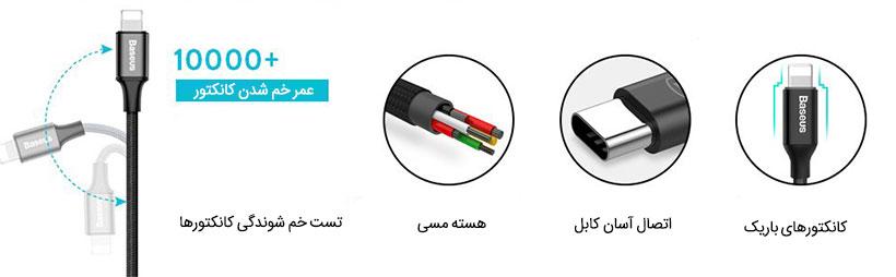 کابل شارژ سریع PD تایپ-سی به لایتنینگ بیسوس