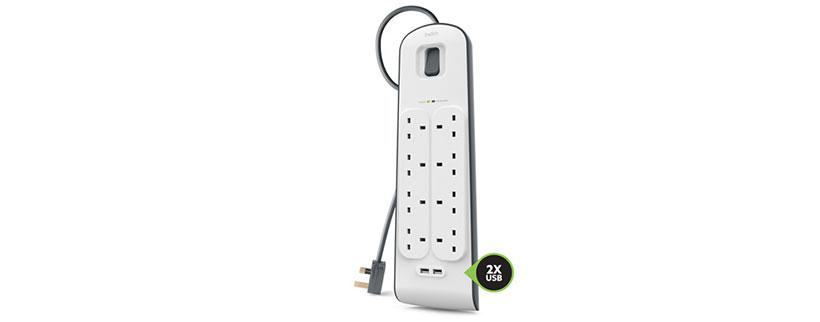 8 خروجی برای آداپتور و 2 خروجی پورت USB