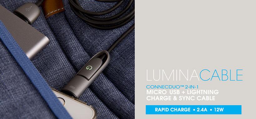 کابل شارژ سریع دو سر میکرو یو اس بی و لایتنینگ انرژیا از سری Lumina