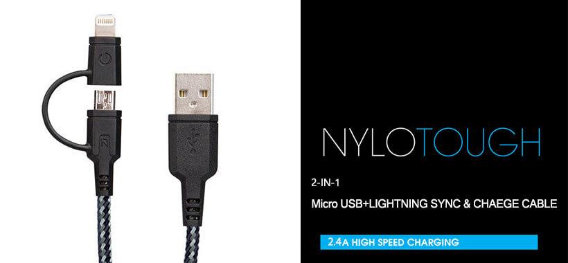 کابل شارژ سریع و انتقال داده با دو کانکتور میکرو یو اس و لایتنینگ انرژیا مدلNylotough