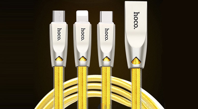 کابل سه سر هوکو Hoco U9 Zinc Alloy Jelly Knitted Charging Cable