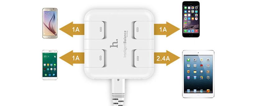 شارژر دیواری هوکو با قابلیت شارژ همزمان چهار دستگاه