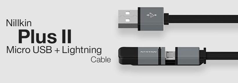 کابل دو پورت میکرو یو اس بی و لایتنینگ نیلکین Nillkin Plus II Micro USB + Lightning Cable