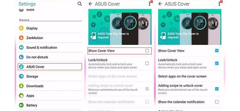 تنظیمات نمایشگر برای دسترسی به اعلان ها