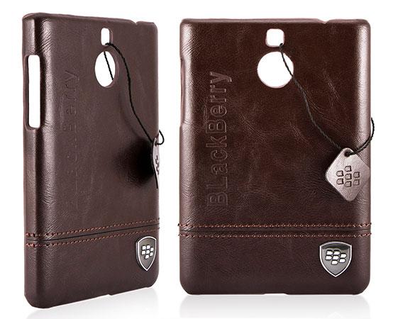 قاب محافظ طرح چرم بلک بری BlackBerry Silver Leather Design Hard Case