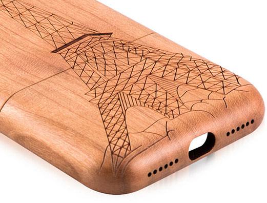 طراحی برجسته روی قاب چوبی آیفون 7