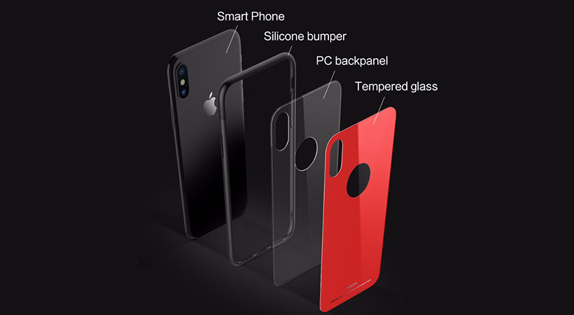قاب راک آیفون Rock Brilliant Series Glass Protection Case Apple iPhone X
