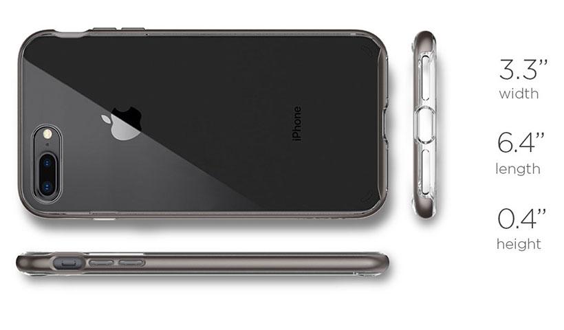 ابعاد کاور محافظ اسپیگن گوشی آیفون 8 پلاس