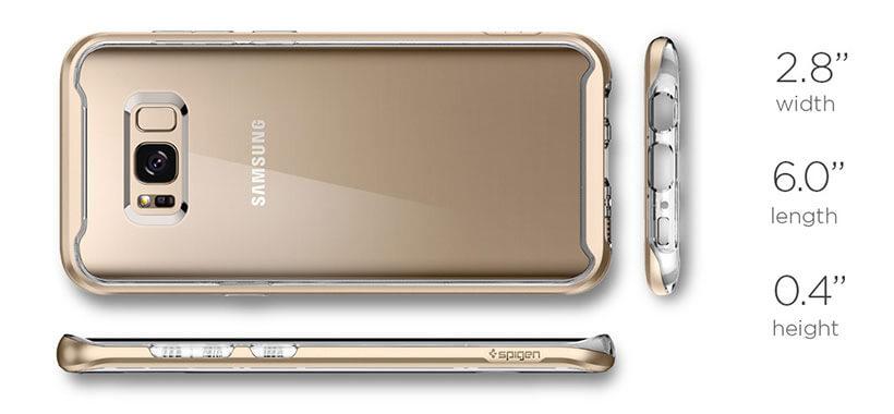 ابعاد قاب محافظ اسپیگن مدل نئو هیبرید کریستال گوشی سامسونگ اس 8